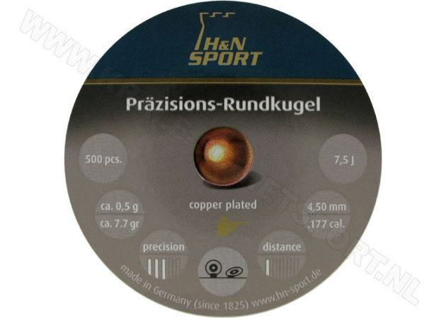 Airgun Pellets H&N Rundkugel Copper Plated 4.5 mm 7.7 grain