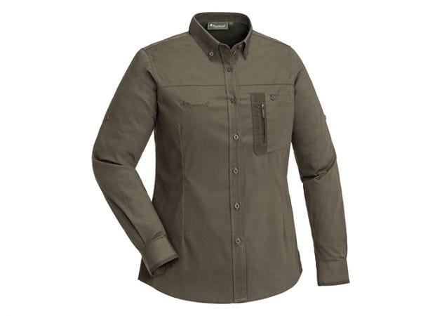Blouse Pinewood Tiveden Insect-Stop Ladies Olive / Suede Brown
