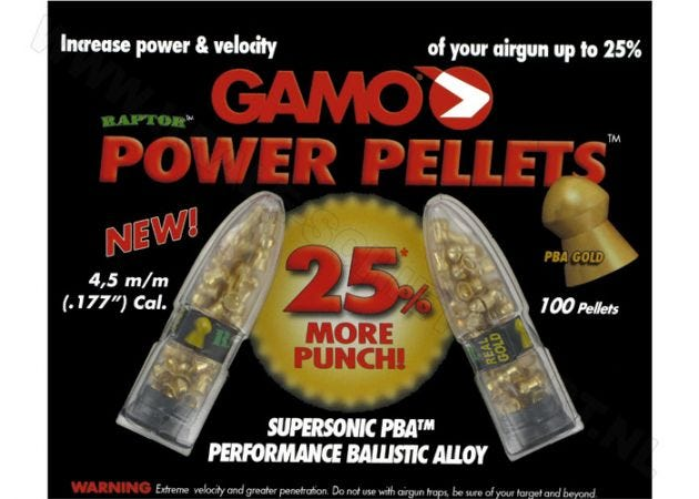 Airgun Pellets Gamo Raptor PBA 4.5 mm 5.2 grain