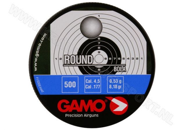 Airgun Pellets Gamo Round 4.5 mm 8.18 grain