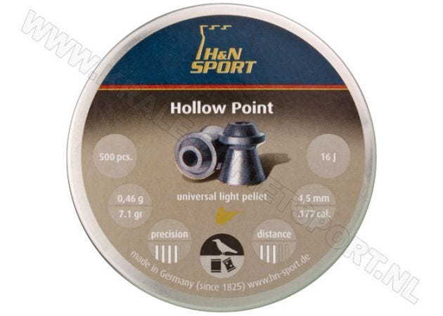 Airgun Pellets H&N Hollow Point 4.5 mm 7.1 grain