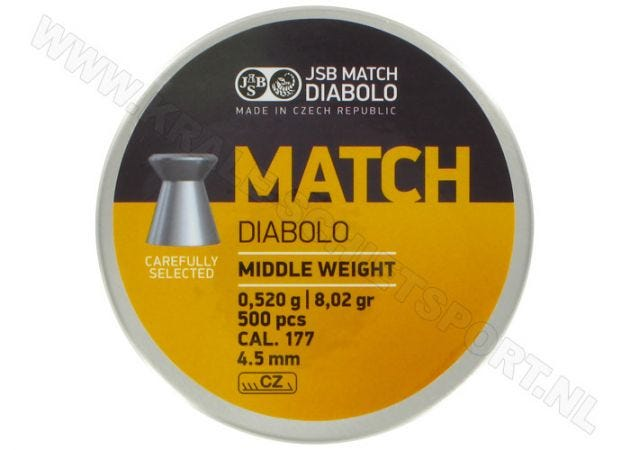 Airgun Pellets JSB Match Diabolo 4.5 mm 8.02 grain