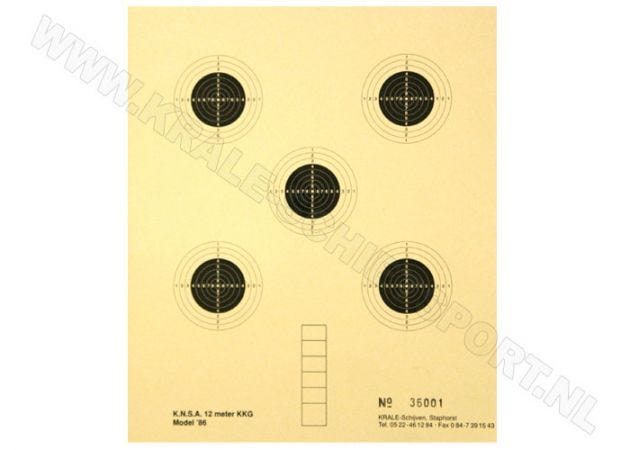 Kruger Smallbore rifle shooting target 12 m 0700N (numbered)