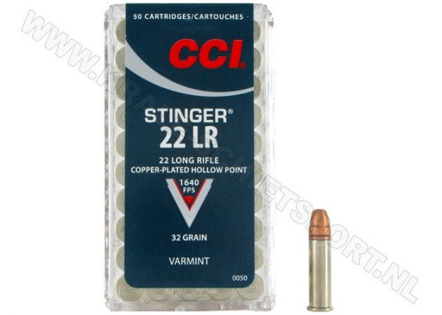 Ammunition CCI Stinger HV .22 LR Copper Plated HP 32 Grain