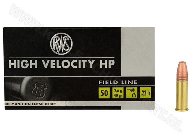 Ammunition RWS High Velocity HP .22 LR Copper Plated HP 40 Grain