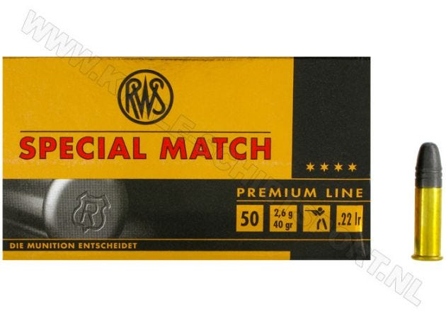 Ammunition RWS Special Match .22 LR RN 40 grain