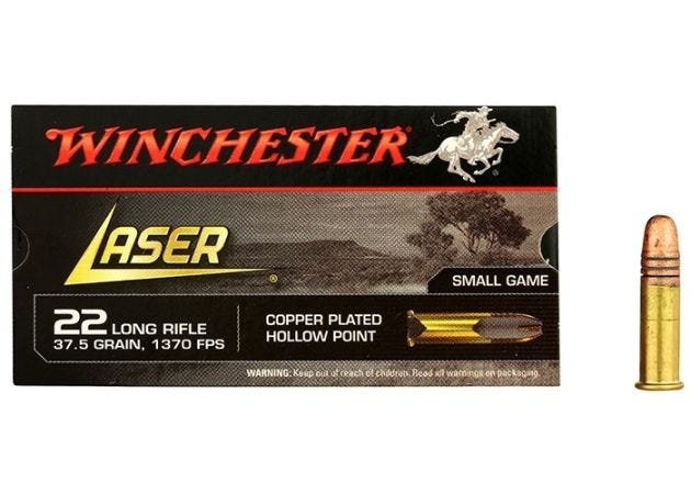 Ammunition Winchester Laser Hollow Point .22 LR Copper Plated HP 37 Grain