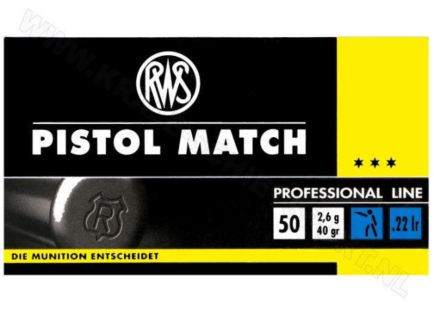Kogelpatronen RWS Pistol Match .22 LR RN 40 Grain