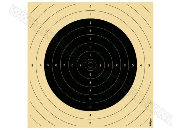 "Centre for big bore rifle target 100 m ""Woerden"" with slot for 26 x 26 targets"
