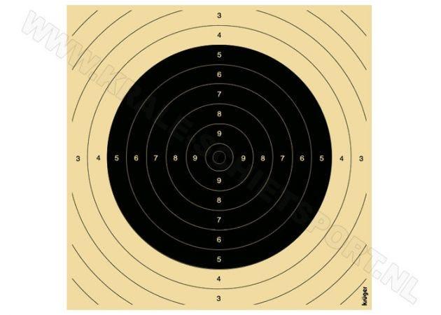 Kruger Groot kaliber geweer schijf woerden 100 m, insteek 26 x 26 cm