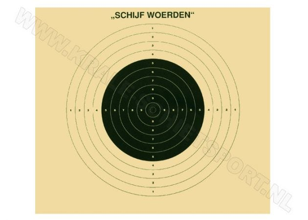 Kruger Big bore rifle target, 100 m, Woerden (unnumbered)
