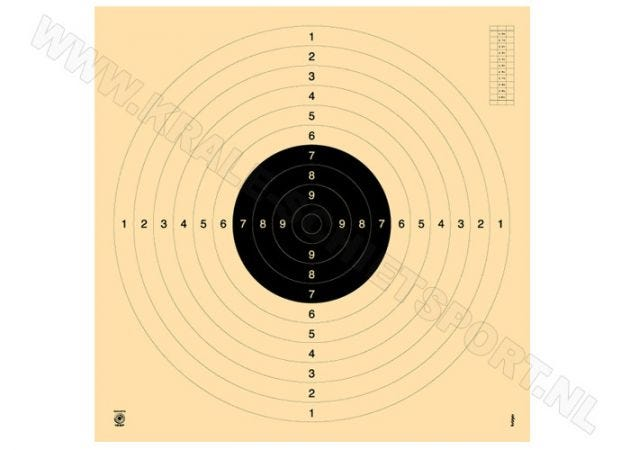Kruger Pistol 25/50 m and smallbore rifle 100 m target 3100N (numbered)