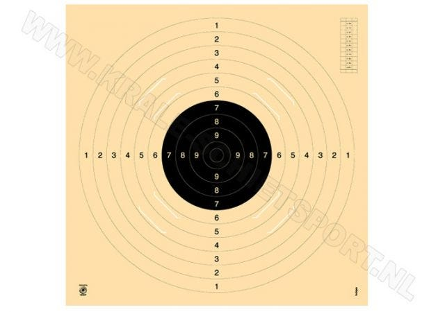 Kruger Pistol 25/50 m and smallbore rifle 100 m target, with slot 3100S
