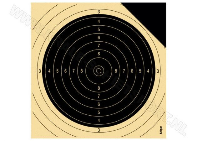 Kruger sighting target centre for smallbore rifle 50 m with black corner 2030P
