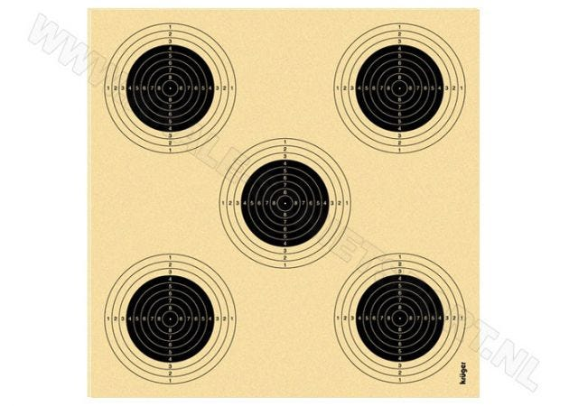 Air rifle target with 5 bullseyes 1305N (numbered)