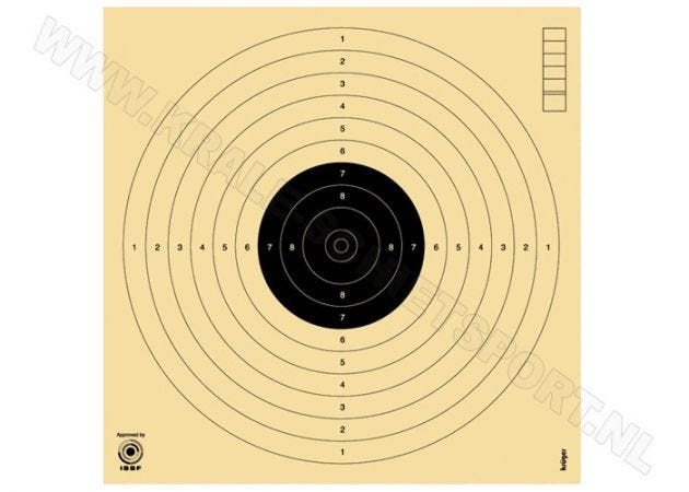Luchtpistoolschijf 10 m 3000 (ongenummerd)