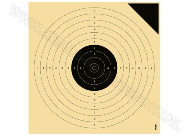 Kruger luchtpistoolschijf 10 m, 3000P ( proef)