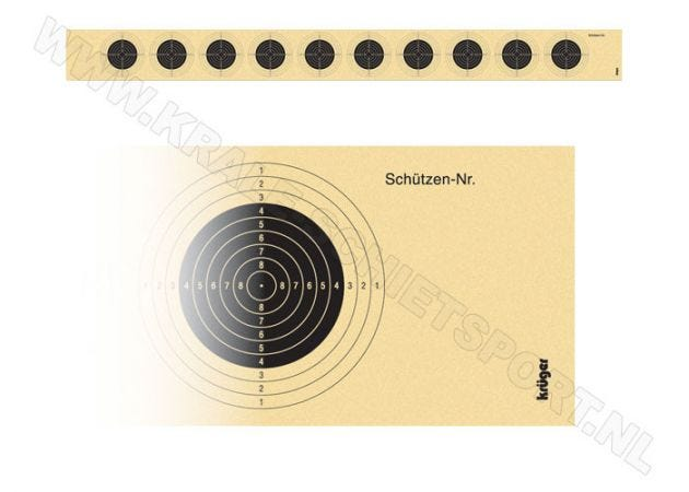 Kruger target-strip for air rifle with 10 targets 1010N (consecutively numbered)