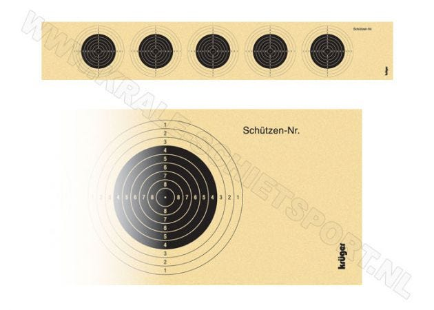 Target-strip for air rifle with 5 targets 1005 (unnumbered)