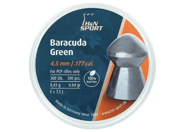 Airgun Pellets H&N Baracuda Green 4.5 mm 6.64 grain
