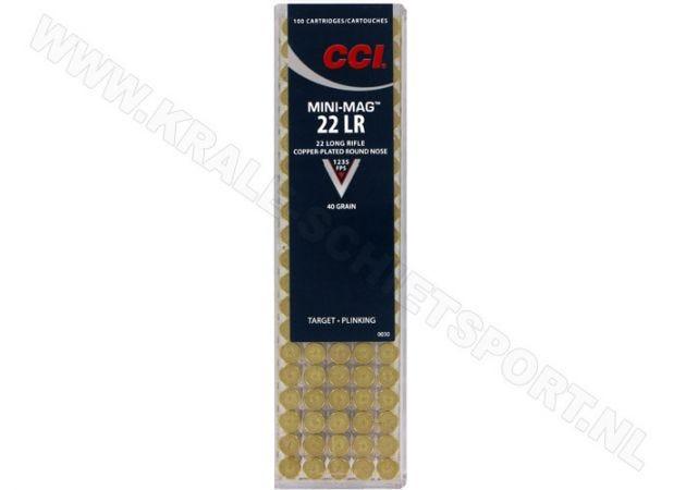 Kogelpatronen CCI Mini Mag HV .22 LR Copper Plated RN 40 Grain