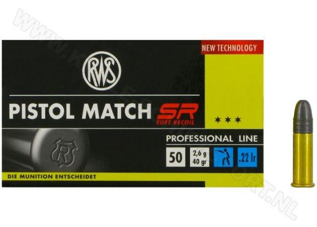 Kogelpatronen RWS Pistol Match SR .22 LR RN 40 Grain