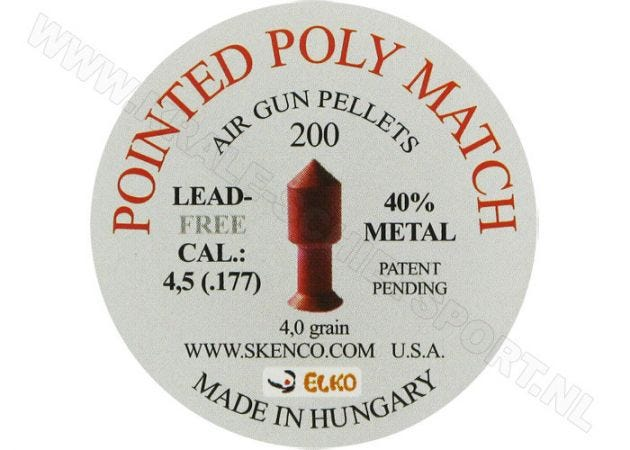 Luchtdrukkogeltjes Skenco Pointed Poly Match 4.5 mm 4 grain