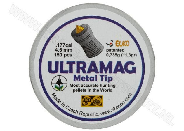 Airgun Pellets Skenco Ultramag Metal Tip 4.5 mm 11.3 grain